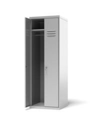 Opened grey metal sports lockers