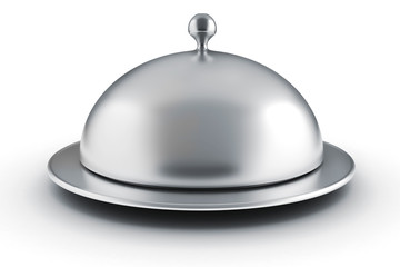 3d silver restaurant cloche on white background