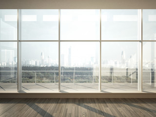 view of city from wide window