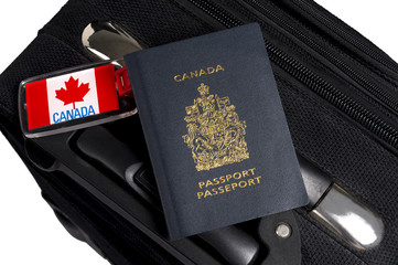 Canadian Passport with Luggage and Tags