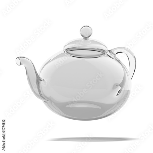 Empty glass teapot