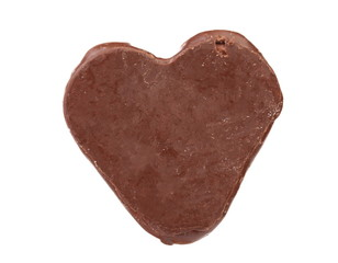 Close up of chocolate heart shape