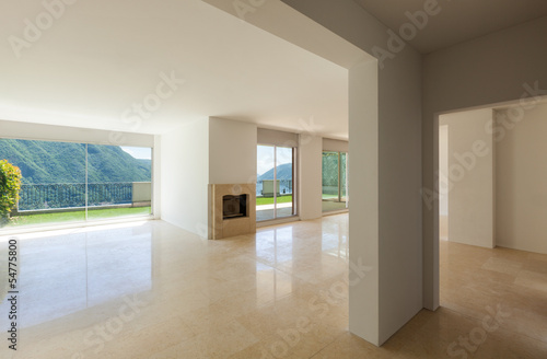 Interior apartment with garden, empty large room