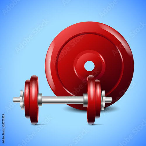 red dumbells on blue background
