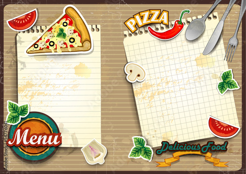 Menu pizza with paper folding