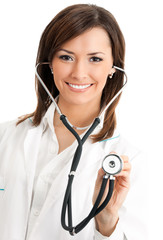 Doctor examing with stethoscope
