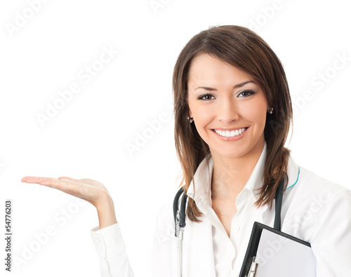 Happy smiling doctor showing, isolated