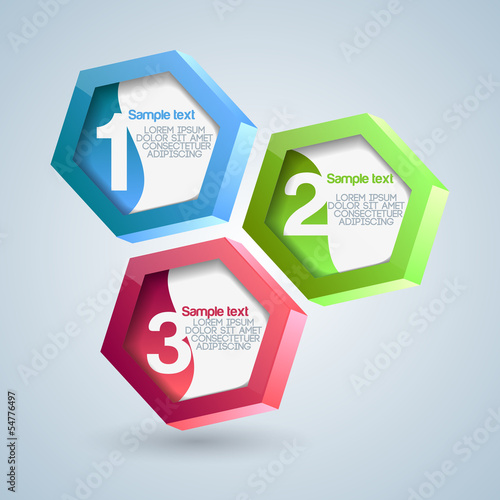 Hexagon numbered banners. Vector illustration