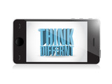phone. think different 3d text illustration design poster
