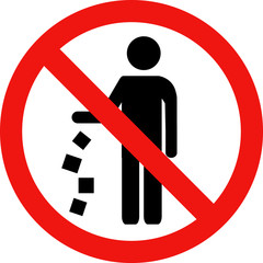 No littering red vector sign