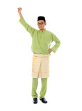 malay male jumping celebrating hari raya eid fitr after ramadan
