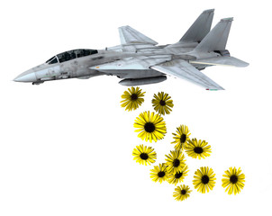 warplane launching yellow flowers instead of bombs