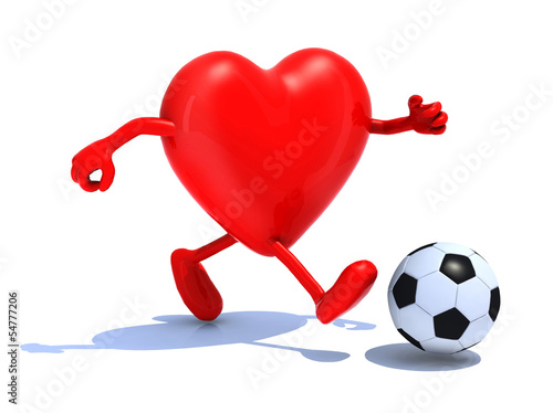 heart with arms and legs run away to soccer bal