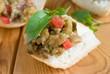 Caviar, eggplant salad on bread
