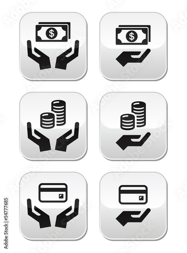 Hands with money vector buttons set