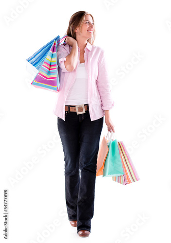 Shopping woman walking