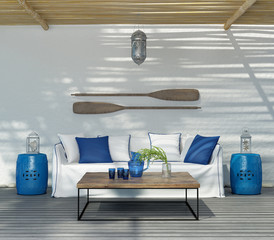 Contemporary Greek island outdoor summer lounge