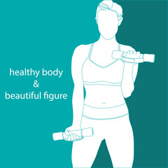 sports girl is engaged with dumbbells