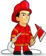 Cartoon of Firefighter Boy - 54778699