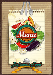 Menu cover with sheet of paper