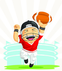 Cartoon of Happy Football Player