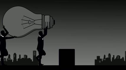 Business und Glühbirne