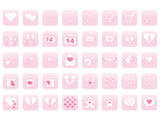 set of pink icons for Day of Valentine