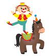 clown equestrian on horse