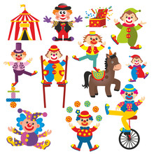 Zestaw klaunów w cyrku