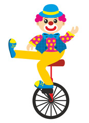 clown goes by bicycle