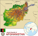 Afghanistan Asia national emblem map symbol location