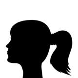 silhouette of a young girl with a ponytail poster
