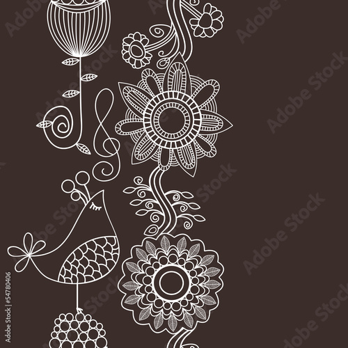 Flowers and bird singing vertical seamless pattern, border decor