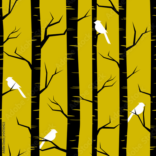 Tuinposter Vogels in het bos Abstract Forest Background