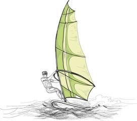Windsurfer vector illustration