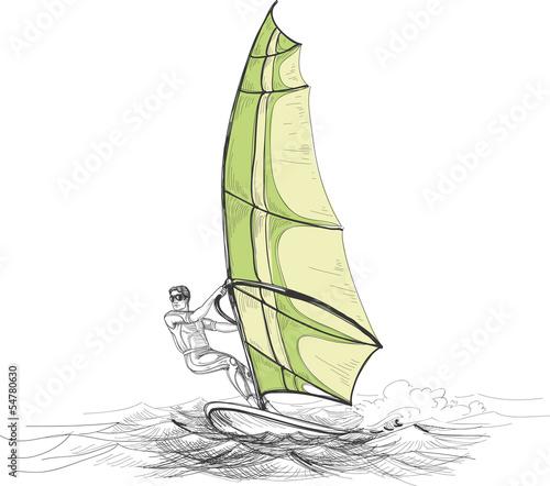 Windsurfer vector illustration - 54780630