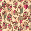 Autumn leaves seamless pattern retro style vector