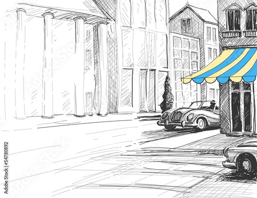 Retro city sketch, urban architecture, street and cars - 54780892