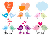 love birds with hearts, vector set