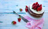 delicious homemade cake with strawberries (sugar-free) backgroun