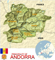 Andorra Europe national emblem map symbol location