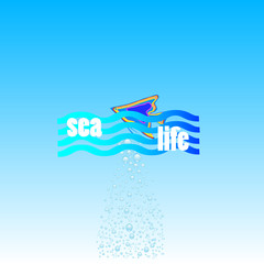 sea life with fish icon vector illustration