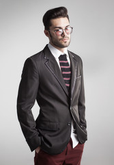 sexy man dressed elegant with s sock tie - funny concept