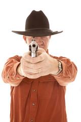 Cowboy point pistol focus on eye