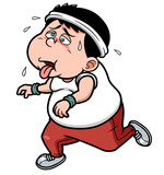Vector illustration of fat man Jogging tired