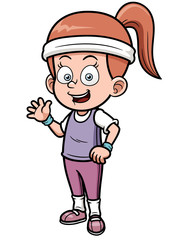 Vector illustration of fitness girl cartoon