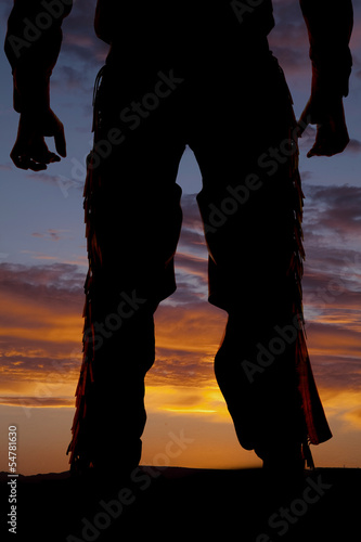 Silhouette cowboy chaps from back