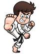 Vector illustration of Boy Karate kick