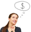 Thinking smiling woman with dollar sign in bubble above isolated
