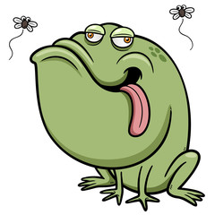 Vector illustration of Cartoon frog with bug